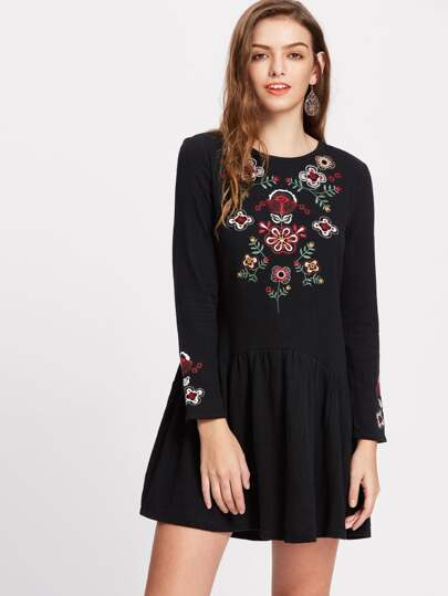 Black Flower Embroidery Drop Waist Dress