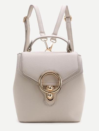 Apricot PU Backpack With Convertible Strap