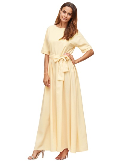 Apricot Tie Front Detail Maxi Dress