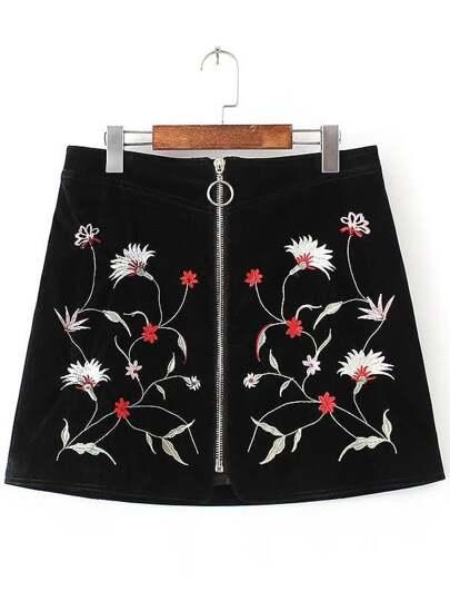 Falda con bordado y cremallera línea A - negro