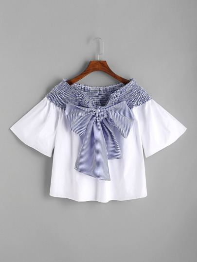 Contrast Striped Bow Tie Shirred Top