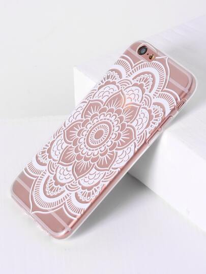 Funda para iPhone 6/6s transparente con estampado de lotus
