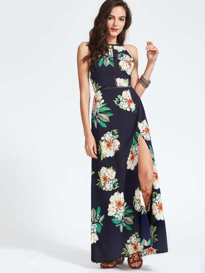 Halter Laser-cut Bow Tie Backless Slit Dress