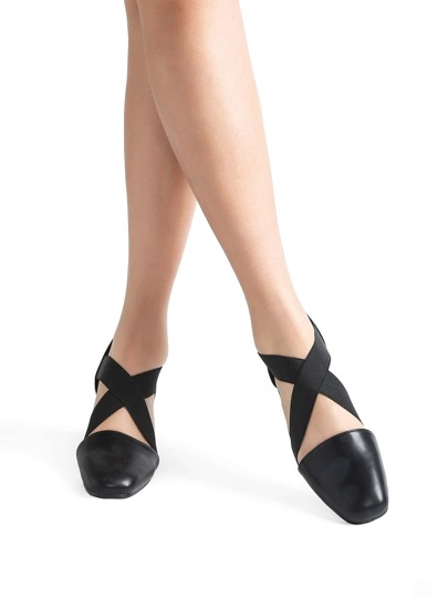 Black Cross Chunky Heeled Ballet Shoes