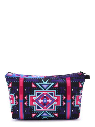 Purple Geometric Print Casual Makeup Bag