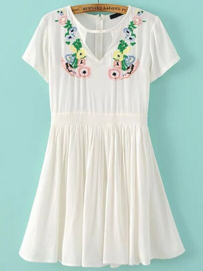 White Flower Embroidery Cut Out Pleated Hem Dress