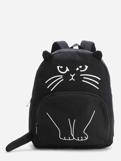 Чёрный модный рюкзак с принтом
