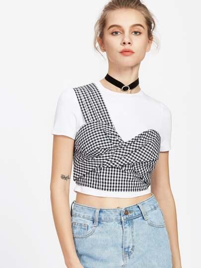One Shoulder Twist Front Crop Checkered Top
