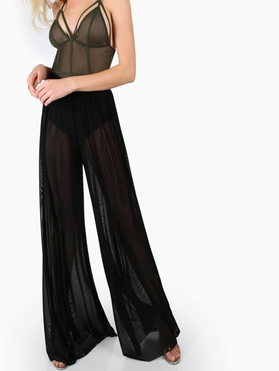 Mesh Wide Leg Pants BLACK