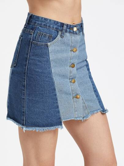Color Block Single Breasted Raw Hem Denim Skirt