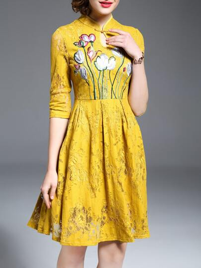 Yellow Hollow Flowers Embroidered Lace Dress