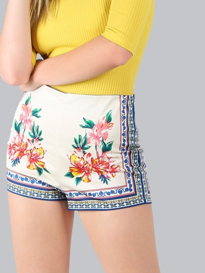 Floral Print Shorts IVORY MULTI