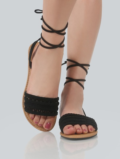 Faux Suede Braided Lace Up Sandals BLACK