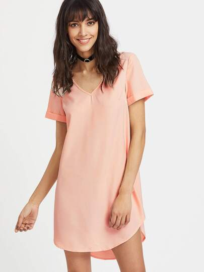 Pink V Neck High Low Curved Dress