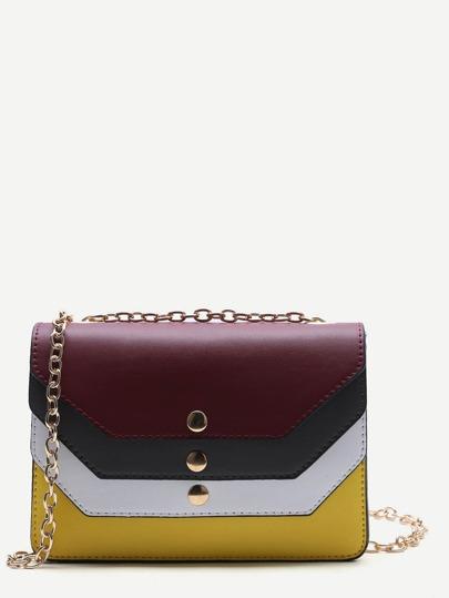 Color Block Design PU Chain Bag