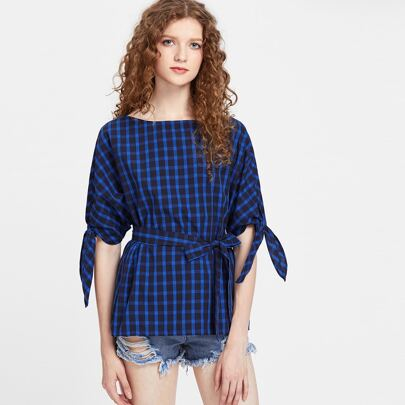 Blue Checkered Tie Sleeve Belted Top