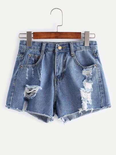 Shorts rotos efecto lavado en denim - azul