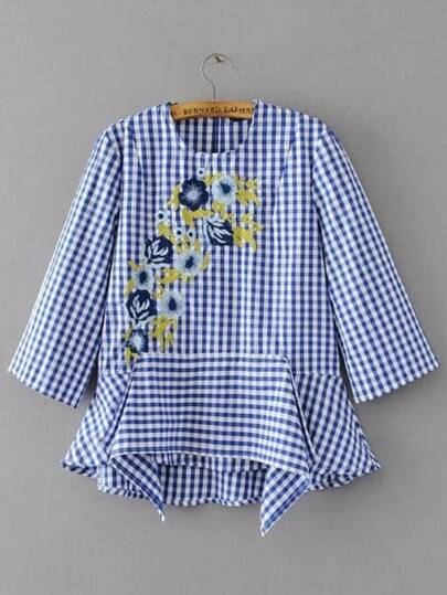 Gingham Flower Embroidery Frill Blouse