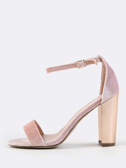 Velvet Ankle Strap Rose Gold Heels BLUSH