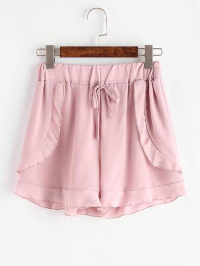 Shorts de chifón ribete con volantes - rosa