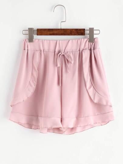 Pink Drawstring Ruffle Trim Chiffon Shorts