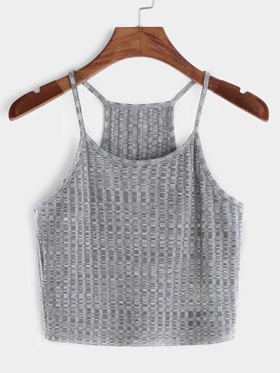 Côtelé en tricot de course retour vers le haut - gris