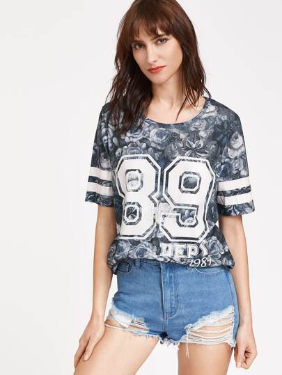 Camiseta con estampado de flor de raya universitaria - marino