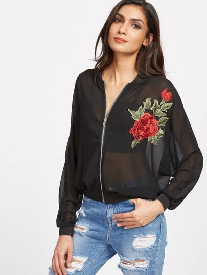 Black Embroidered Appliques Sheer Mesh Jacket