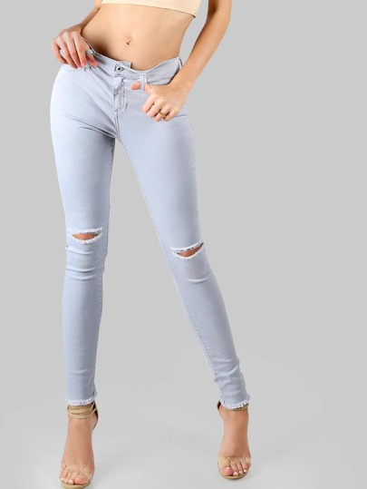 Frayed Slit Denim Skinnies SLATE