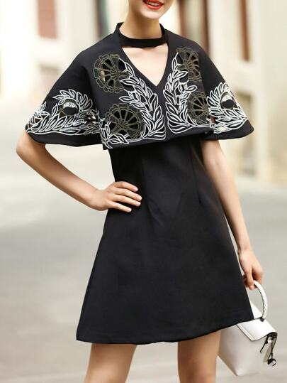 Black Hollow Embroidered Cape Dress