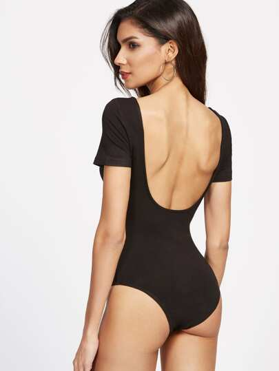Scoop Neckline Open Back Bodysuit
