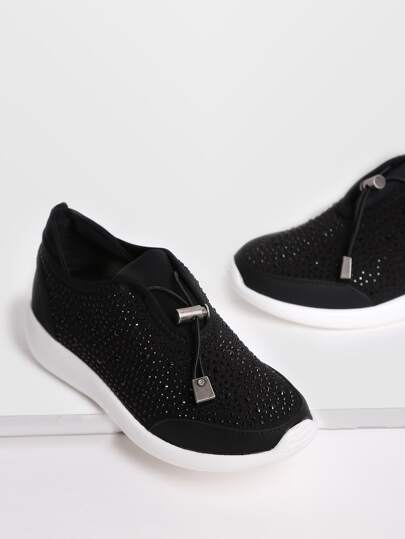 Black Rhinestone Detail Contrast Sole Sneakers