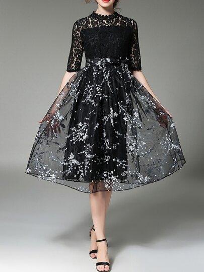 Black White Contrast Organza Lace Print Dress