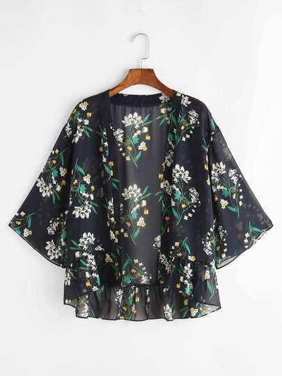 Kimono con estampado y bajo con volantes - negro