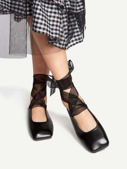 Black Lace Up Ballet Flats