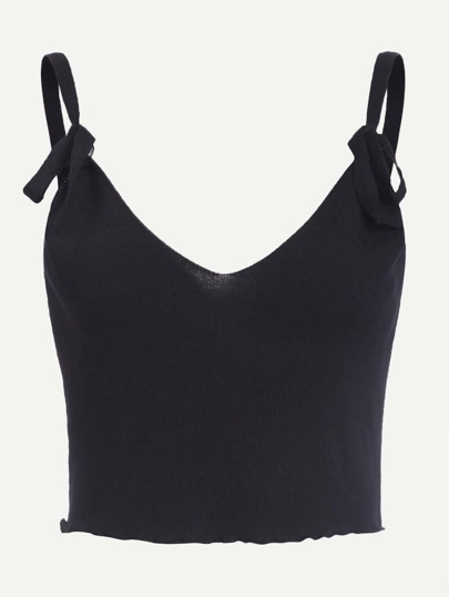 Black Knit Tie Detail Crop Cami Top