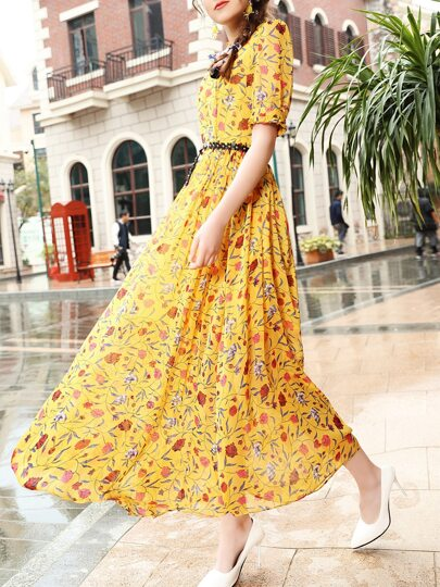 Yellow Belted Floral Maxi Dress