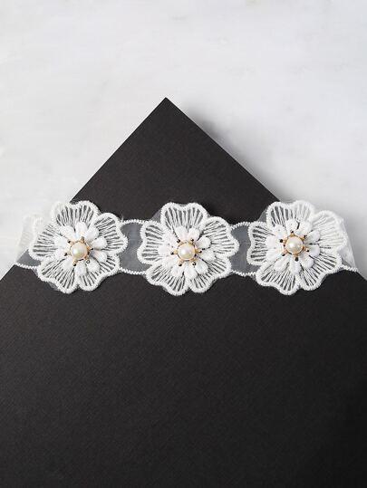 Floral Pearl Choker WHITE