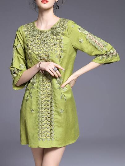 Green Crochet Hollow Out Shift Dress