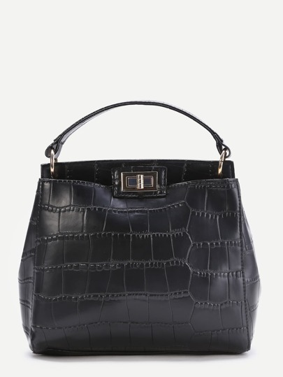 Black Crocodile Embossed Twist Lock Tote Bag