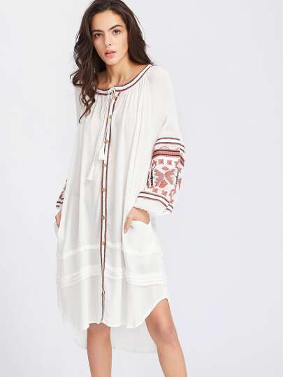 White Embroidery Single Breasted Tassel Tie Dress