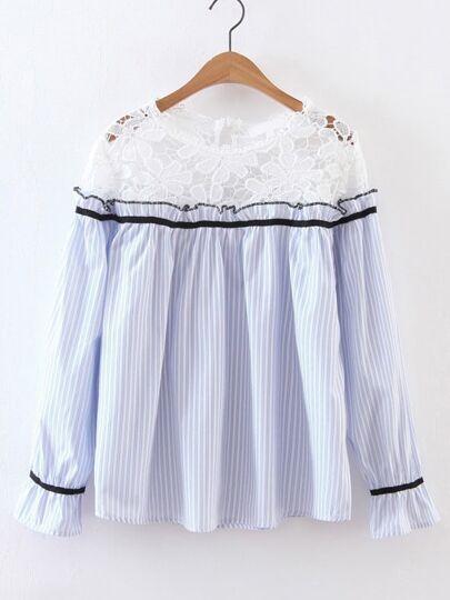 Blu Contrasto Crochet strisce verticale camicetta