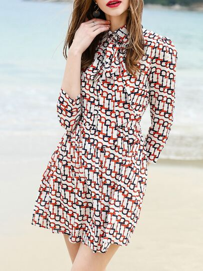 White Tie Neck Print Shift Dress