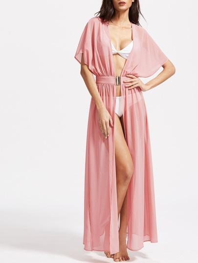 Kimono manches chauve-souris de taille interlock - Rose
