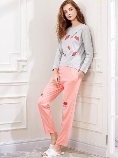 Graphic Print Long Sleeve Tee And Pajama Pants Set