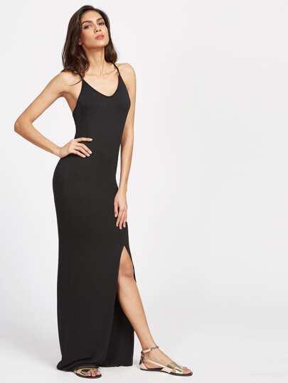 Vestido largo espalda cruzada con abertura - negro