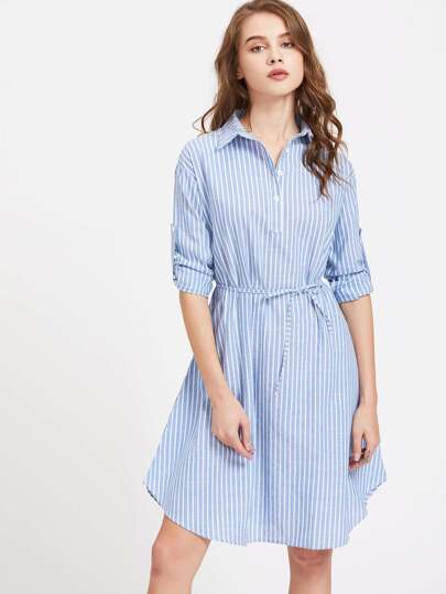 Vertical Striped Roll Up Sleeve Self Tie Shirt Dress
