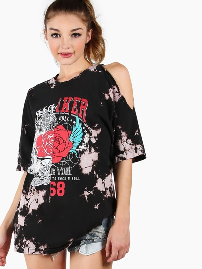 Distressed Acid Washed Graphic Tee BLACK