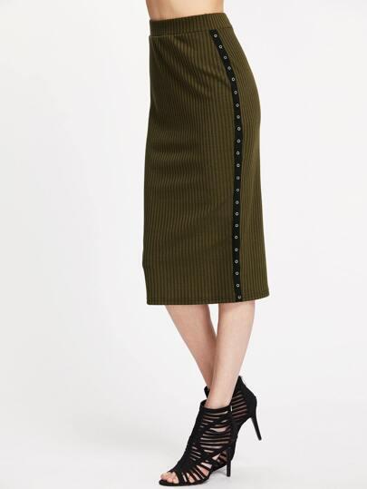 Falda de canalé con detalle de cintas - verde militar
