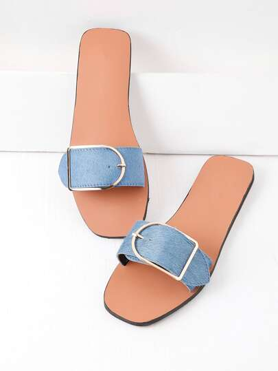 Buckle Detail Slide Sandals